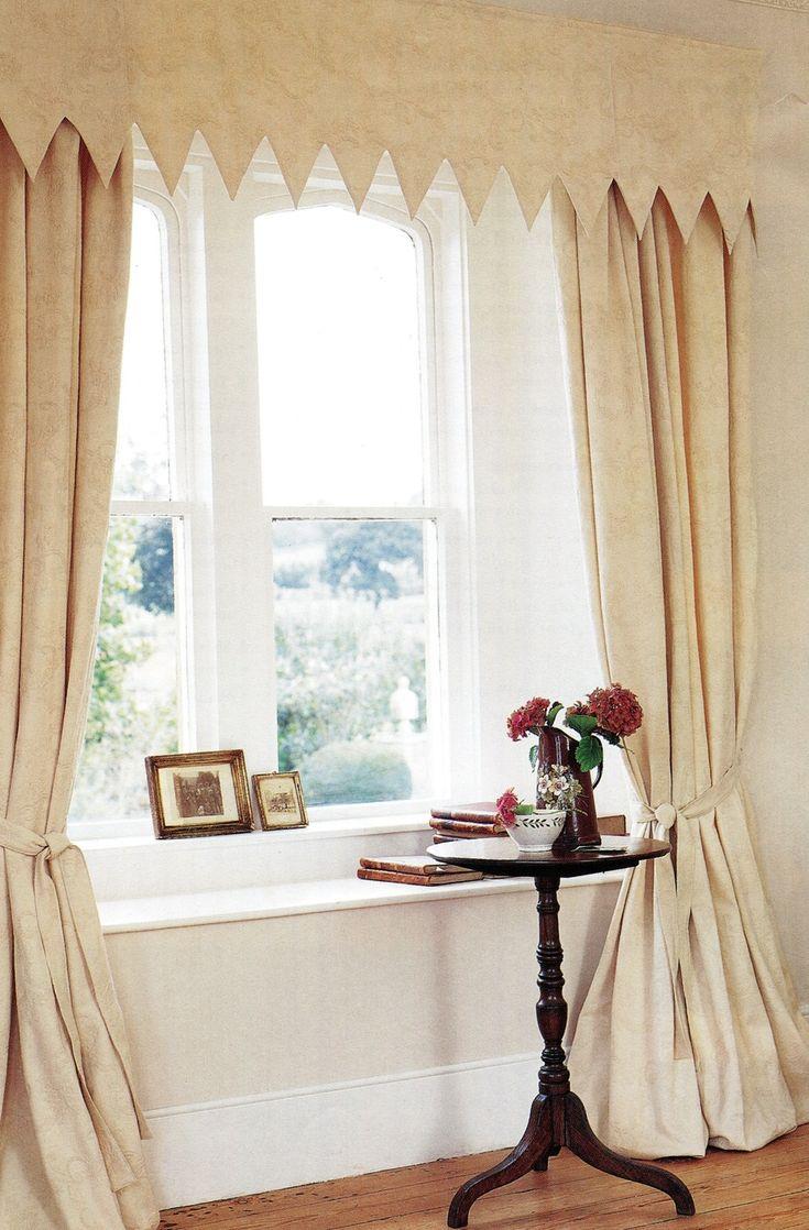 Harlequin edged pelmet and full drapes in cream