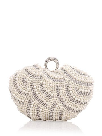 Party Imitation Pearl Delicate Clutch Purse