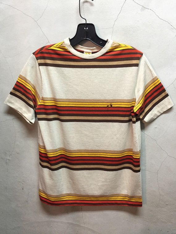 vintage t shirt, 70s, hang ten, vintage hang ten, surf, t shirt, beige, tan,mustard yellow, burnt orange, brown, jumper tee,XS, youth XL