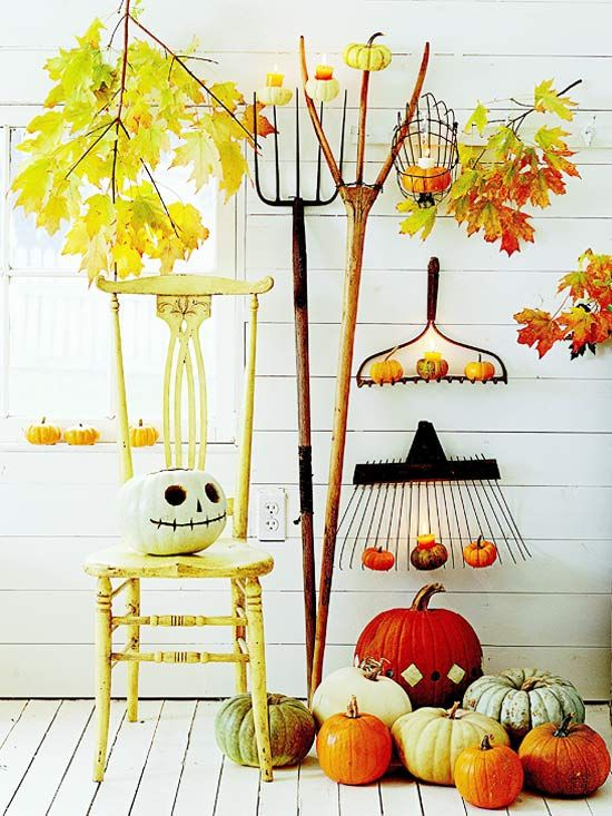 Natural Art for fall porch: Halloween Decor, Idea, Fall Decor, Falldecor, White Pumpkin, Fall Porches, Fall Display, Front Porches, Jack Skellington