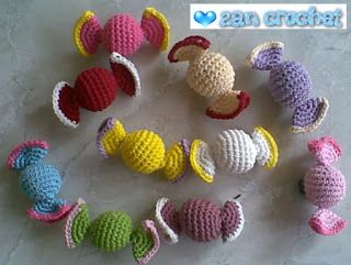 Sweet candies... I love it.. This amigurumi is one of my favorite. It's easy, simple and no need much time to make this candy. It can be apply to be anything, brooch, key chain, fridge magnet, souveni