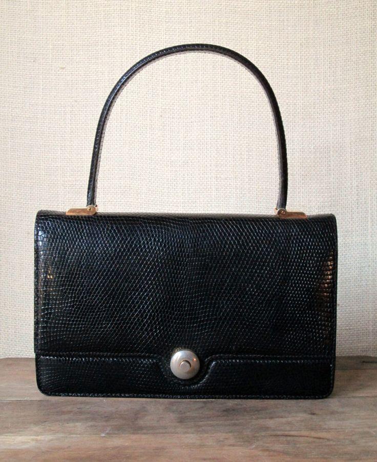 Designer Handbag Vintage 60s Mad Men purse envelope bag elegant high fashion black lizard leather Jackie Kennedy style Lederer France by MySoftParade on Etsy https://www.etsy.com/listing/116426796/designer-handbag-vintage-60s-mad-men