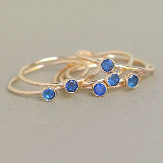 sapphire ring. gold birthstone ring. ONE dainty stackable