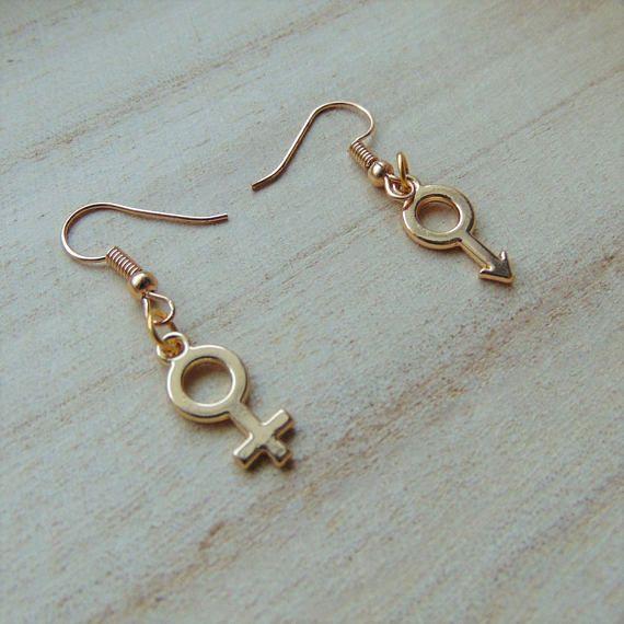 Gold Venus & Mars Symbol Earrings Pair - Mismatch Hook Style Female and Male Gender Sexuality Jewellery for Pride 2017 Trans - Heterosexual