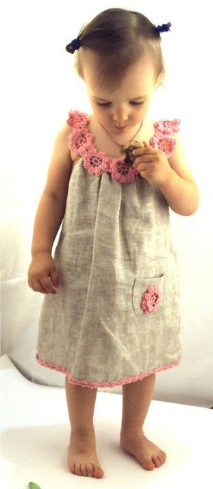 Linen organic flower dress / tunic crochet for baby / toddlers / girl of any size. $35.00, via Etsy.