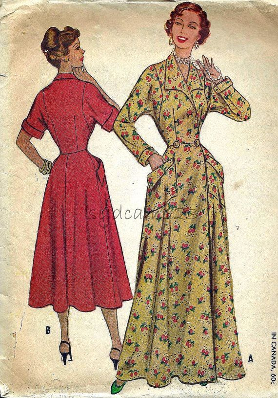 vintage 1950s robes | McCalls 9557 Vintage 1950s Wing Collared Robe or Housecoat Pattern