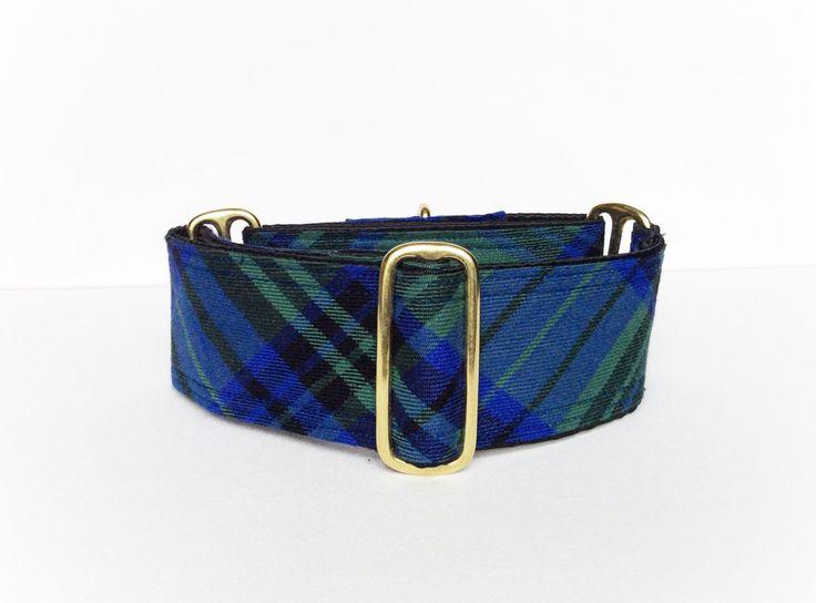 Collier martingale carreaux (collier pour chien, martingale, lévrier, automne foulard plaid doré bleu royal écossais coton satin coloré ) de la boutique ALittleSparkleDesign sur Etsy