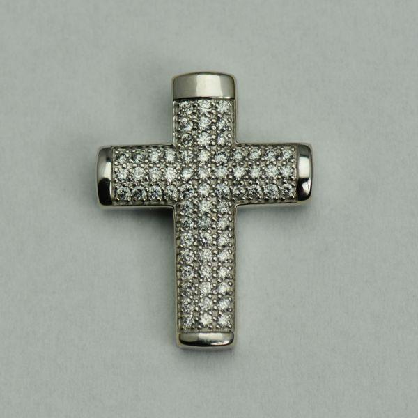Pandantiv cruce din aur alb 14k cu diamante