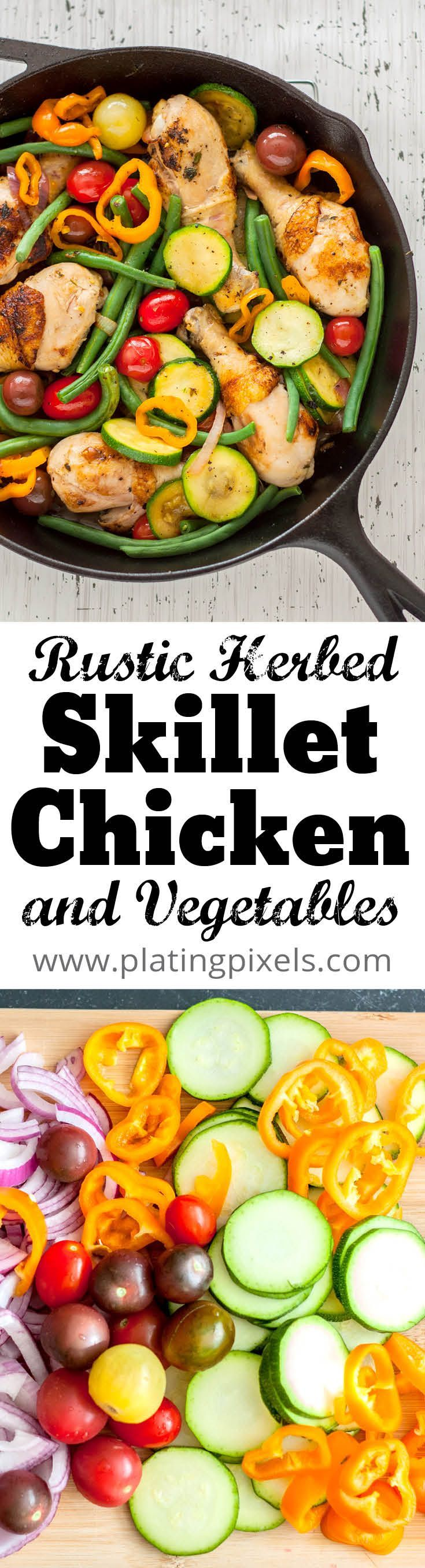 Rustic skillet chicken and vegetables by Plating Pixels. Flavorful, crisp chicken pairs lovingly with fresh vegetables and a rich broth based sauce in this gluten-free skillet dish. - www.platingpixels.com