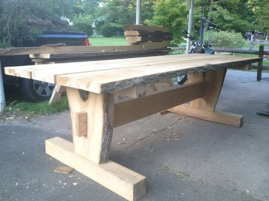 17 best ideas about timber frames on pinterest timber for Post trestle farm table plans