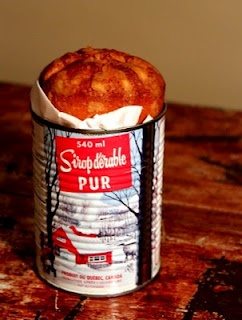 gâteau sirop d'érable en canne / maple syrup cake baked in a can