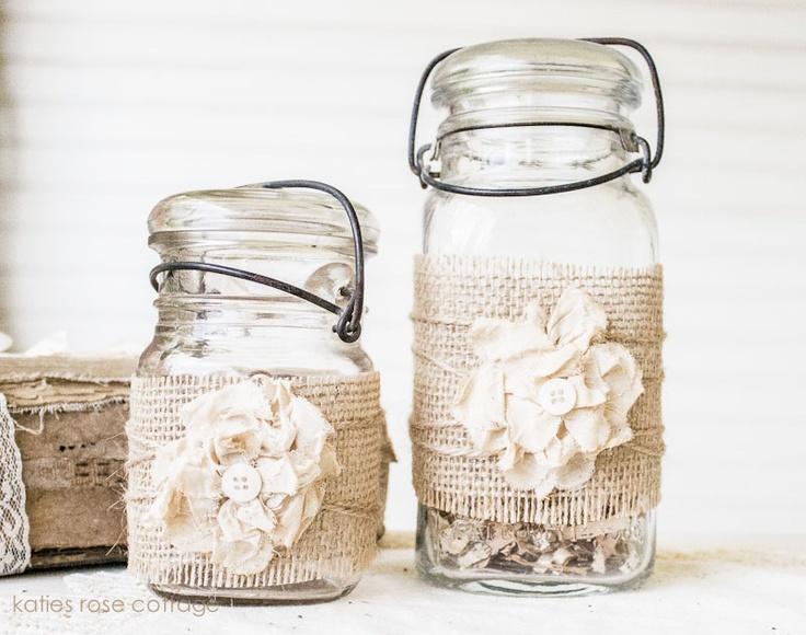 Set of Burlap Embellished Jars