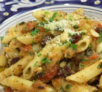 Nick Stellino recipe for Pasta with Pine Nuts Raisins Tomatoes- Tried it, loved it.