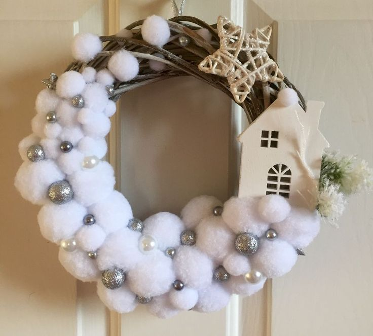 BLIZZARD POMPON XMAS CHRISTMAS WREATH WHITE SILVER HANDMADE SHABBY CHIC in Home, Furniture & DIY, Home Decor, Dried & Artificial Flowers | eBay