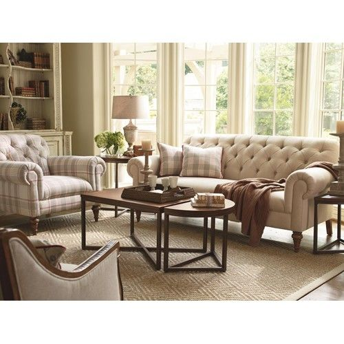 Exposed Wood Furniture ~ Schnadig lynn button tufted sofa with exposed wood legs
