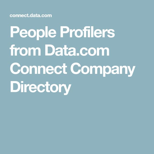 People Profilers from Data.com Connect Company Directory