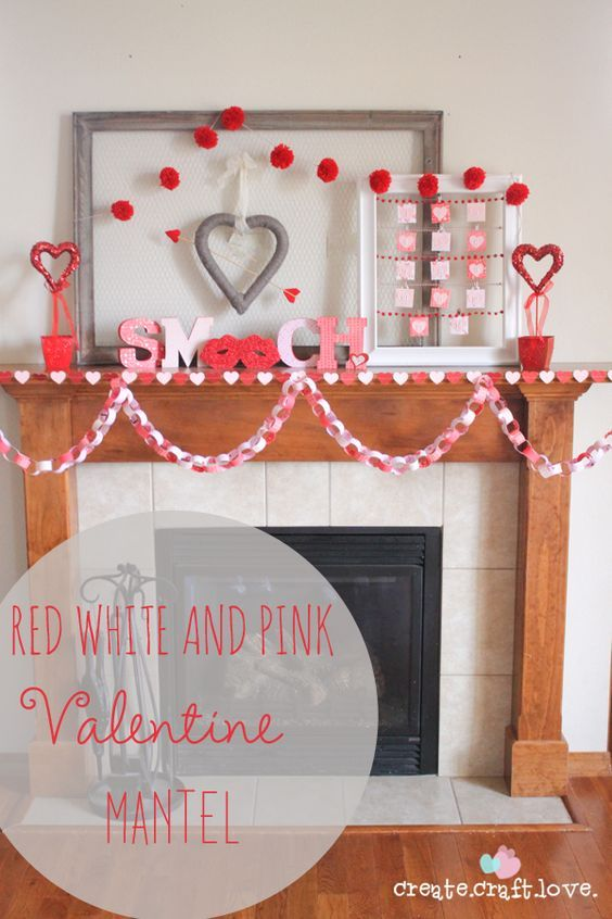 EASY Red, white and pink Valentine Mantel Decorations - DIY Ideas and Inspiration via Create.Craft.Love