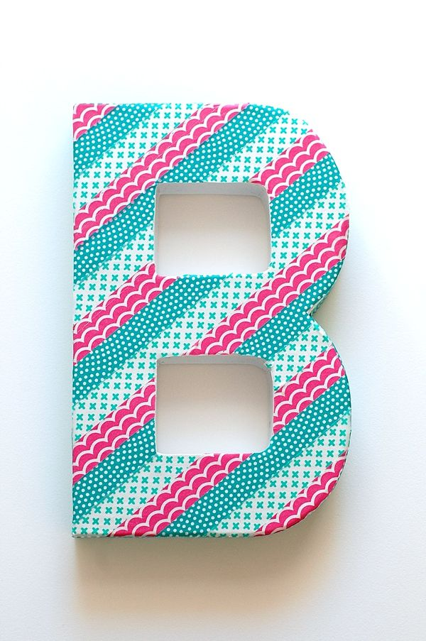 Fantastic wash tape ideas! Love this monogram for parties or even a baby's room! DIY Washi Tape Wedding Ideas, monogram