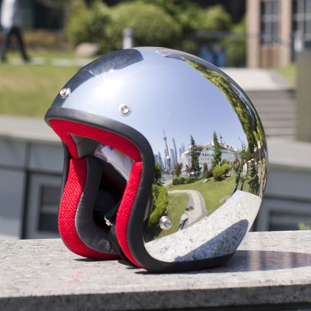 Silver mirror chrome harley retro moto casco abierto de la motocicleta casco de la moto cascos casco casque capacete motoqueiro dot