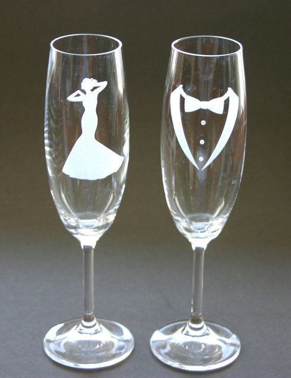 Etched Bride and Groom Wedding Bells Champagne Flutes Toast Glasses Engraved His Hers Weddings