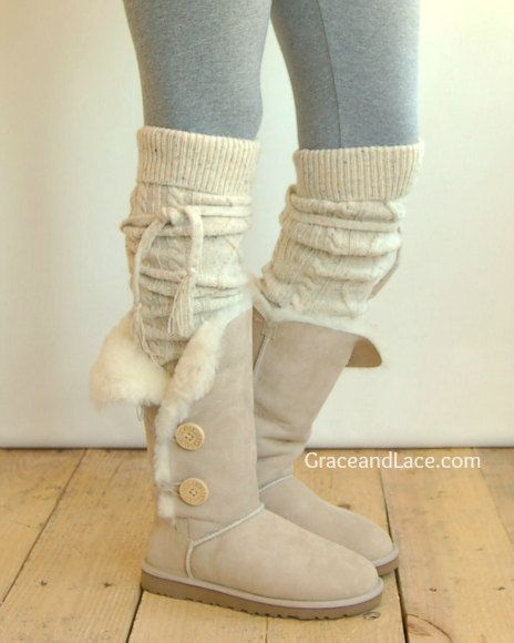 Alpine Thigh High Slouch Sock - Tweed thick cable knit socks w/ fold over cuff and tassel tie - boot sock leg warmer (item no. 6-27). $39.00, via Etsy.