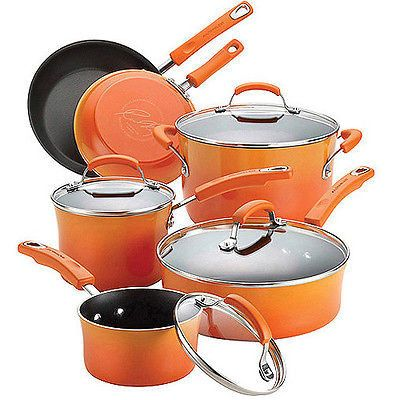 Rachael Ray Hard Enamel Nonstick 10-Piece Cookware Pots and Pans Set, Red,Orange,Blue,Purple,Green Only 5 In Stock Order Today! Product Description: Rachael Ray's hard enamel cookware set is an except