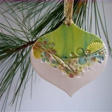 A great porcelain ornament for gift giving! For a hostess,office and stocking stuffer.Just beautiful to grace your tree.Hung by a gold ribbon.  For a fun,funky holiday outfit,put your own ribbon on it and wear it as a pendant.    Approx.2 /12 x 2 1/2.