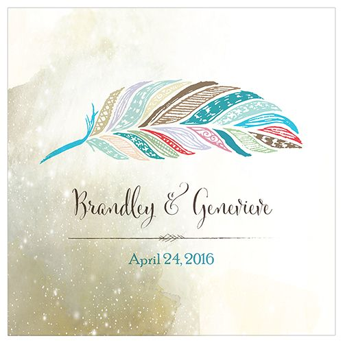 Feather Whimsy Personalized Clear Acrylic Block Cake Topper - Bridal Everything