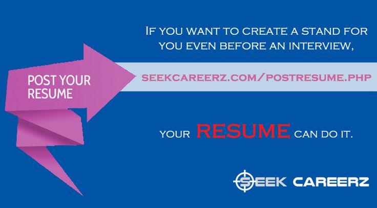SeekCareerz- Post Resume Seek Careerz Pinterest Posts and Resume - post resume