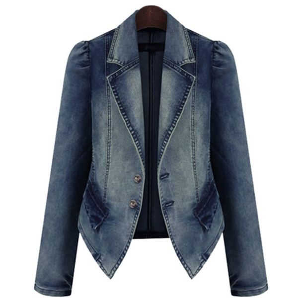 Lapel Demin Light Wash Jacket found on Polyvore featuring polyvore, women's fashion, clothing, outerwear, jackets, long blue jacket, long jacket, lapel jacket and blue jackets