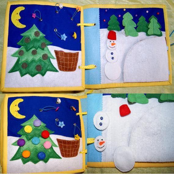 Winter themed personalized fabric busy book for toddler, Soft sensory quiet book