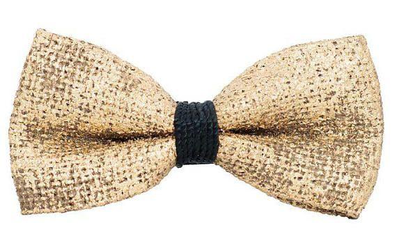 Papillon Special Foglia Oro e nodo nero in tessuto resinato made in Italy