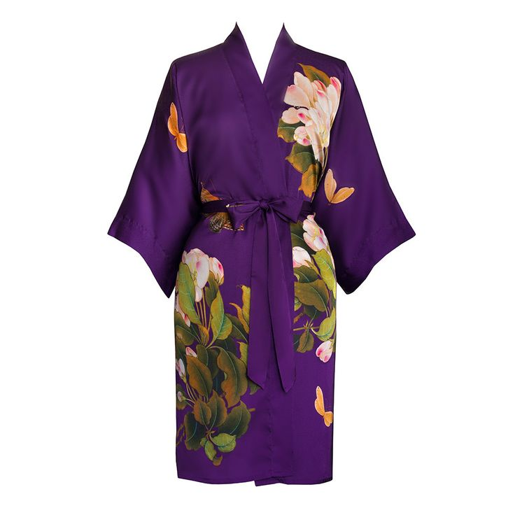 Print Kimono Short Robe - Peony and Butterfly (purple)