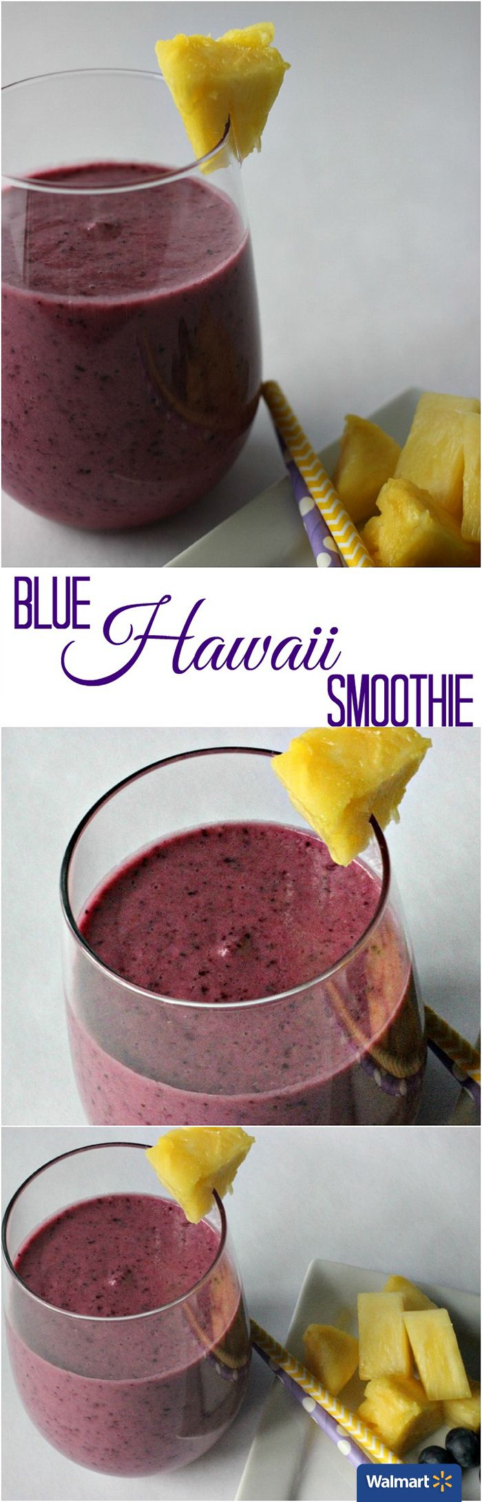 Blue Hawaii Smoothie   Walmart – Start the new year off right with this smoothie recipe that's packed full of fruits and protein! The ingredients in this Blue Hawaii Smoothie are simple and a bit surprising. Pineapple and blueberries are the stars here, a small piece of ginger is added for flavor. The Light & Fit Protein Drink and Dannon Greek Yogurt give the smoothie a burst of nutrients as well as creaminess.