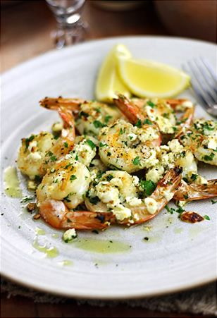 Sizzling shrimp with feta and garlic