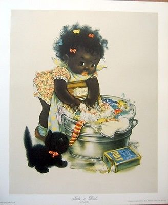 art print~SUDS-N-DUDS~Little Girl Laundry Washtub African ...
