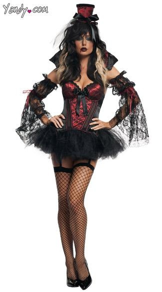 Gothic Vampire Costume - The Gothic Vampire costume includes a black and red corset with underwire, padded cups, black satin bow detail, removable collar, hook and eye back closure, removable garter straps, reversible tutu skirt and black lace arm sleeves. (Hat and stockings not included.)
