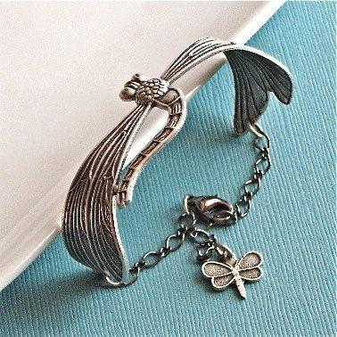 Dragonfly Jewelry  Silver Cuff Bracelet by mcstoneworks on Etsy