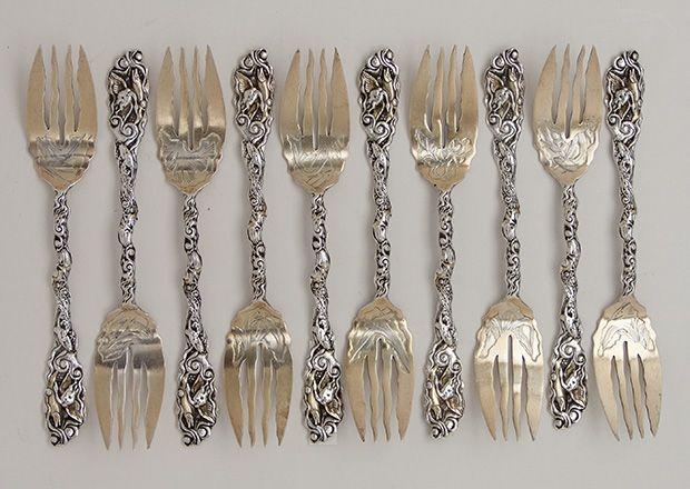 gorham pattern antique sterling silver salad dessert forks providence ri