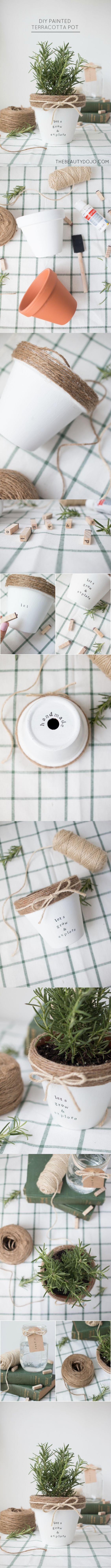 Macetas decoradas con cuerda - Vía http://www.thebeautydojo.com/