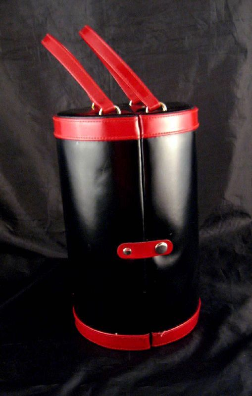 Red Black Pleather faux Leather Vanity Case Jewelry Cosmetics