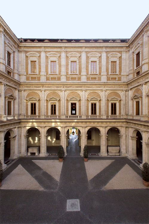 ANTONIO DA SANGALLO (the Younger) courtyard of the Palazzo Farnese, Rome, 1517-1546. 3rd story and attic by MICHELANGELO. 1546-1550. Design of the project was awarded to Antonio da Sangallo the Younger. Work began in 1514, but when the original architect died in 1546, Michelangelo was called in. He designed the first two floors, built the third, and adorned the façade with a central balcony.