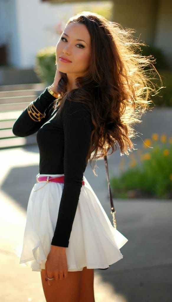 Black sleeve blouse and white flowy mini skirt fashion | Skirts and dresses | Pinterest | Flats ...