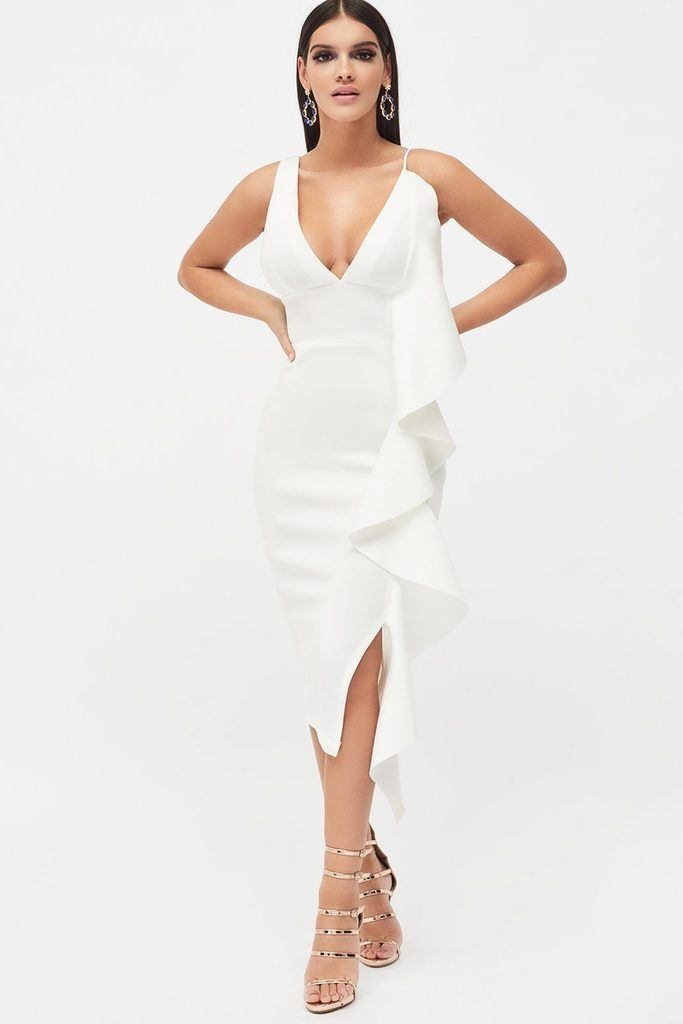 11d782a5ef Draped Frill Midi Scuba Dress in WhiteOur best-selling asymmetric draped  frill scuba dress is back for the new season in crisp white. With…