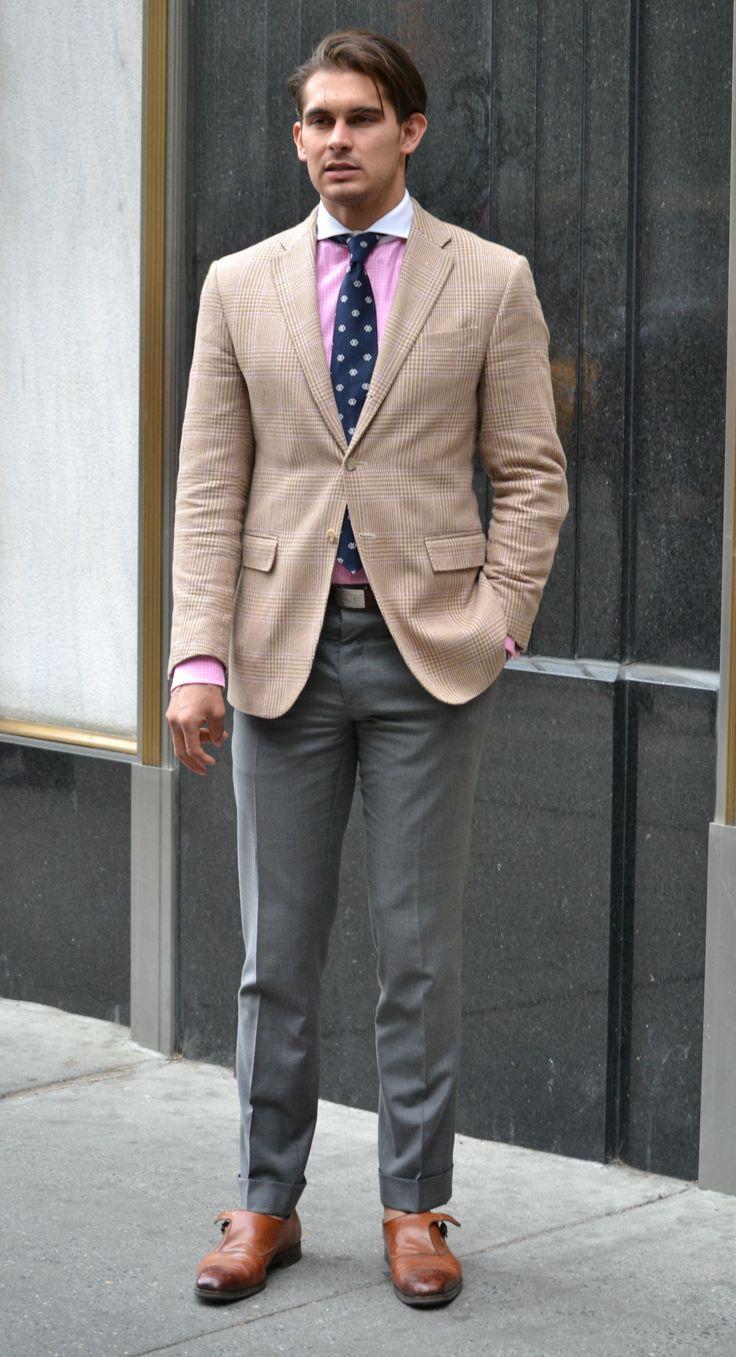 khaki jacket gray pants - Google Search | Mens fashion