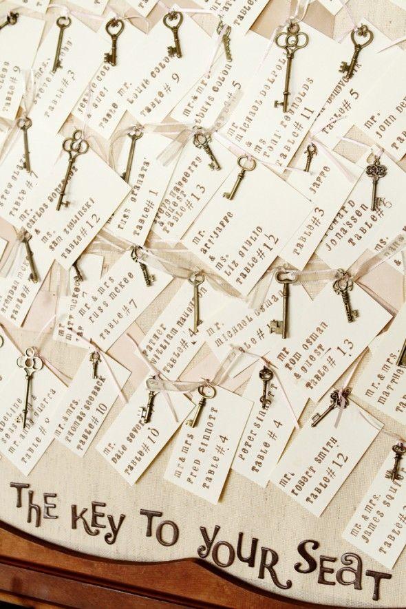 Key place cards http://rusticweddingchic.com/new-jersey-vintage-rustic-wedding