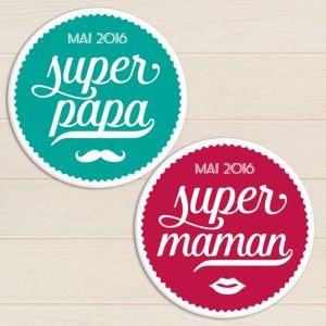 badge futur parent super papa et super maman pour annonce grossesse bleu et vieux rose rétro