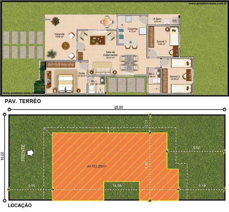 ProjetarCasas: Planta de Casas   Planta de Casa térrea, 3 quartos, cozinha americana e varanda - Cód 29