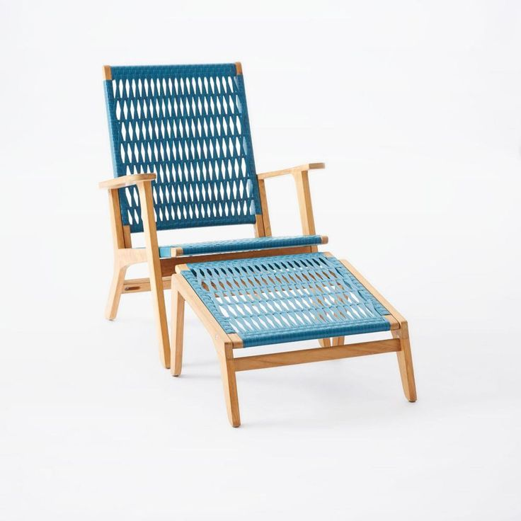 Catskill Wood + Wicker Chair - Teak/Teal.  Outside Master bedroom