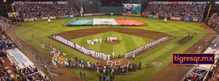 Tigres de Quintana Roo of the Class AAA Mexican League Opening Day at Estadio De Beisbol Beto Avila on April 4, 2015